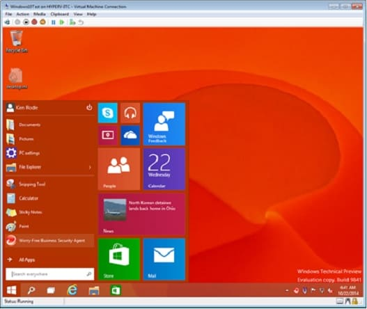 Microsoft Windows 10 interface